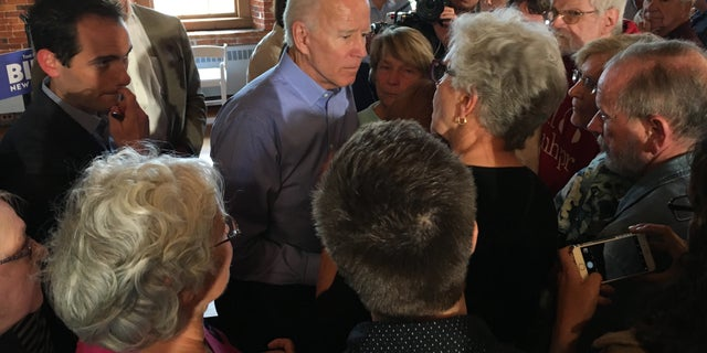 Former Vice President Joe Biden speaks with voters after holding a town hall in Laconia, N.H. on Friday.