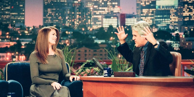 "Kathy Ireland during an interview with ""Tonight Show"" host Jay Leno on June 23, 1999. (NBCU Photo Bank via Getty Images)"