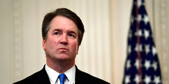 This Oct. 8, 2018, file photo shows Supreme Court Justice Brett Kavanaugh at a ceremonial swearing-in in the East Room of the White House in Washington. Kavanaugh was involved in a testy exchange with Justice Elena Kagan during oral arguments Wednesday. (AP Photo/Susan Walsh, File)