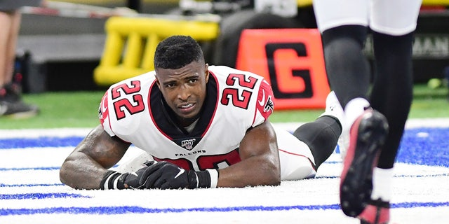 Atlanta Falcons safety Keanu Neal (22) was injured in the second half in the final zone against the Indianapolis Colts at Lucas Oil Stadium.