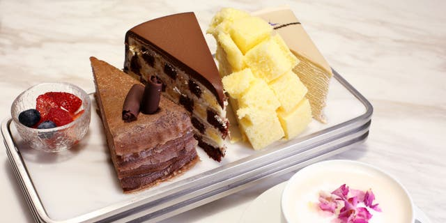 A selection of cakes from the Lady M boutique in Hong Kong.