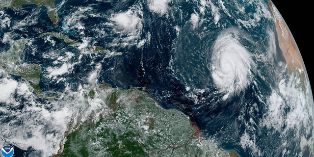 Hurricane Lorenzo can be seen swirling in the eastern Atlantic on Thursday, the day the ship reported problems.