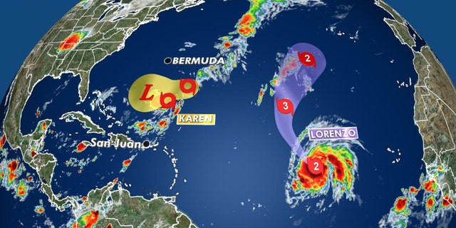 Current tropical activity in the Atlantic basin.