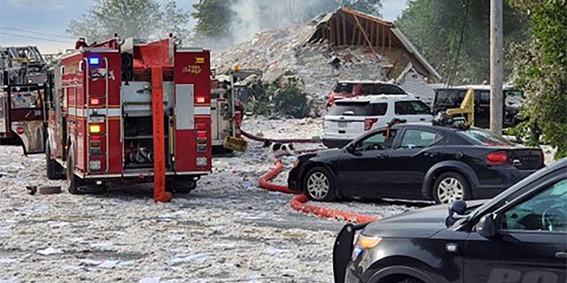 The explosion leveled new construction in Farmington, Maine. (Jacob Gage via AP)