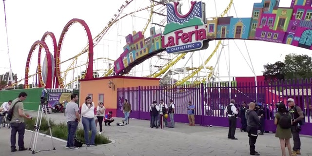 The amusement park where the derailment took place, in Mexico City, Mexico, in this still image taken from video Saturday.