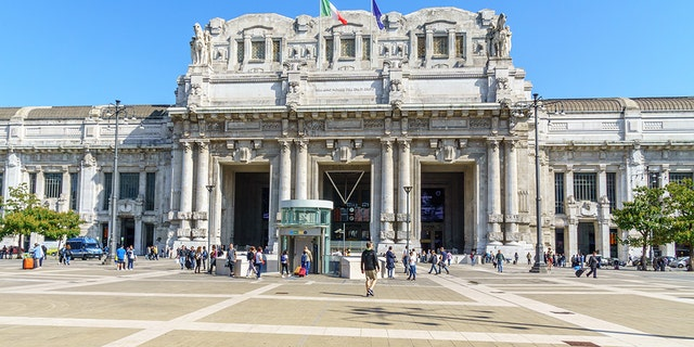 Milan Central Railway Station entrance; Tuesday's attack comes after two army officers and a police officer were stabbed inside the Italian train station in May 2017. In that attack, authorities stopped a 20-year-old man, a known drug dealer, during a routine check.