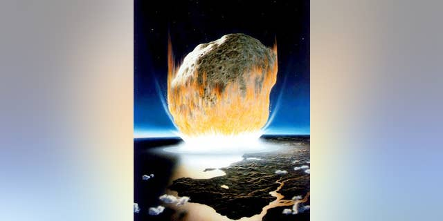 Artist's interpretation of the asteroid impact