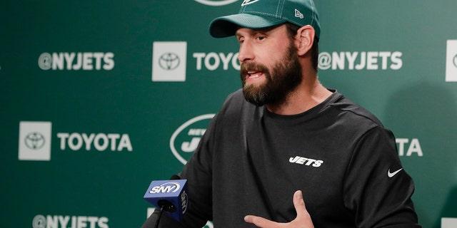 New York Jets head coach Adam Gase speaks at the team's NFL football training facility Wednesday, Aug. 21, 2019, in Florham Park, N.J. (AP Photo/Frank Franklin II)