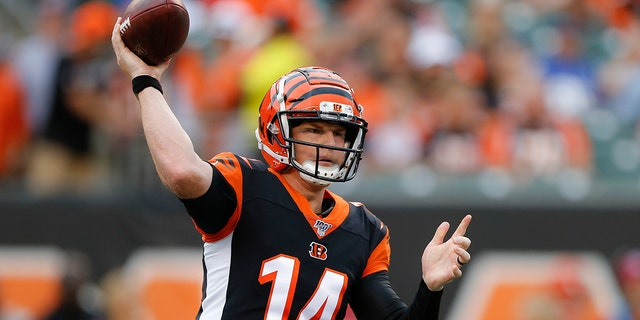 Cincinnati Bengals quarterback Andy Dalton throws a pass during the first half of the team's NFL preseason football game against the New York Giants, Thursday, Aug. 22, 2019, in Cincinnati. (AP Photo/Gary Landers)