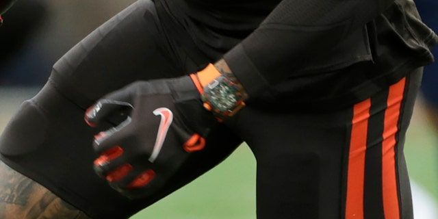 Odell Beckham's watch was the talk of the game. (AP Photo/Ron Schwane)