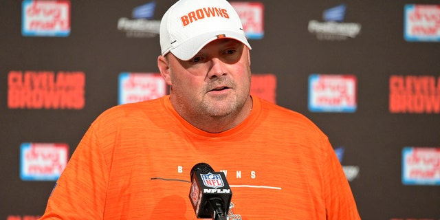 Cleveland Browns coach Freddie Kitchens during a news conference after the team's NFL preseason football game against the Detroit Lions, on Aug. 29, 2019, in Cleveland. (AP Photo/David Richard)