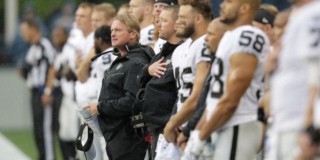 Oakland Raiders head coach Jon Gruden is in his second season of his second stint witt the team. (AP Photo/Stephen Brashear)
