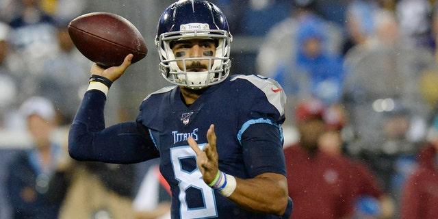 Tennessee Titans quarterback Marcus Mariota has his sights on the playoffs. (AP Photo/Mark Zaleski)