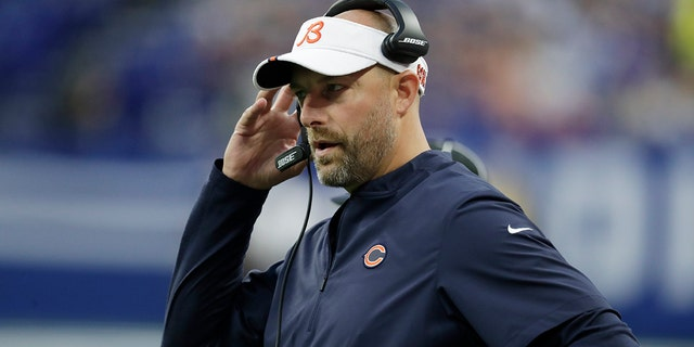Chicago Bears head coach Matt Nagy watches the first half of an NFL preseason football game against the Indianapolis Colts, on Aug. 24, 2019, in Indianapolis. (AP Photo/Michael Conroy)