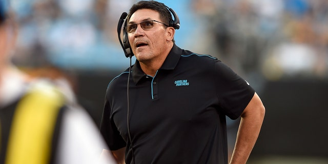 Ron Rivera compiled a 76-63-1 record over eight-plus seasons with Carolina. (AP Photo/Mike McCarn)