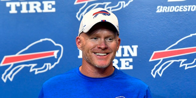Buffalo Bills coach Sean McDermott talks with reporters after the team's 27-23 win over the Minnesota Vikings in an NFL preseason football game in Orchard Park, N.Y., Thursday, Aug. 29, 2019. (AP Photo/Adrian Kraus)