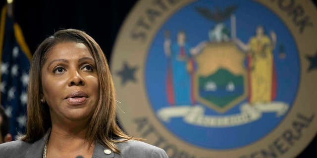 In this June 11, 2019 file photo, New York Attorney General Letitia James speaks during a news conference in New York.