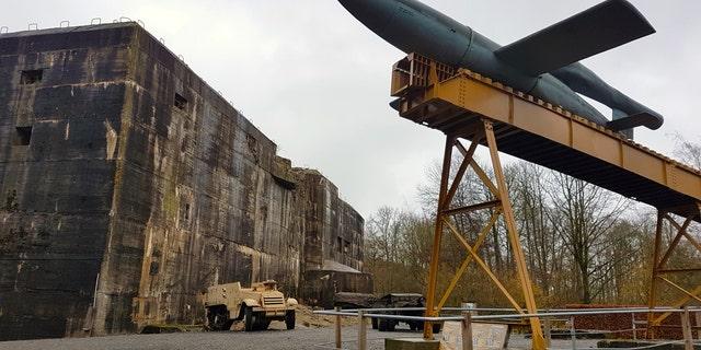 The entrance of the secret V-2 bunker at Kraftwerk Nord West in France.