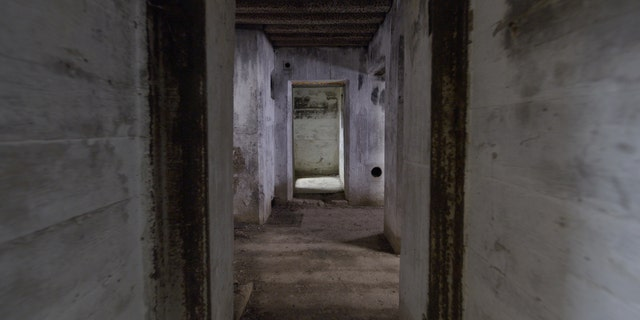 The interior of a Maisy Batteries bunker.