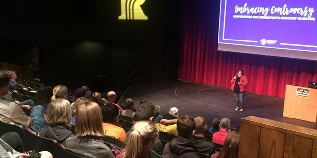 A photo taken of the pro-life event at a Rochester, Minn. community college before being evacuated due to a bomb scare.