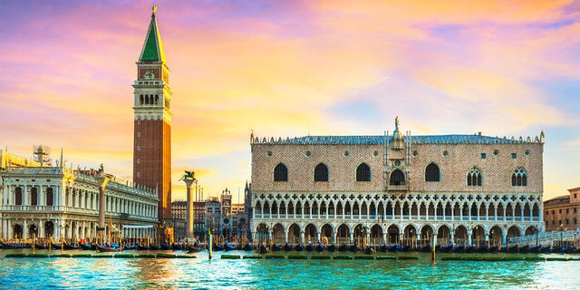 """Two <a data-cke-saved-href=""""https://www.foxnews.com/travel"""" href=""""https://www.foxnews.com/travel"""">tourists</a> visiting Venice have been smacked with a $3,320 fine for skinny dipping near the Piazza San Marco, the main square of the """"floating city,"""" on Monday night."""