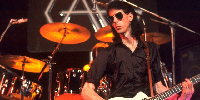 Ric Ocasek of The Cars performing at the University of Sussex in Brighton, England for the TV show, 'Rock Goes To College' on November 22, 1978.