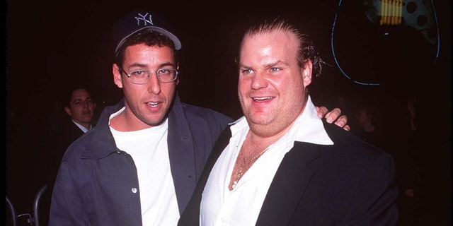 Adam Sandler and Chris Farley at the Cineplex Odeon Century Plaza Cinema in Century City, Calif. (Photo by Steve Granitz/WireImage)