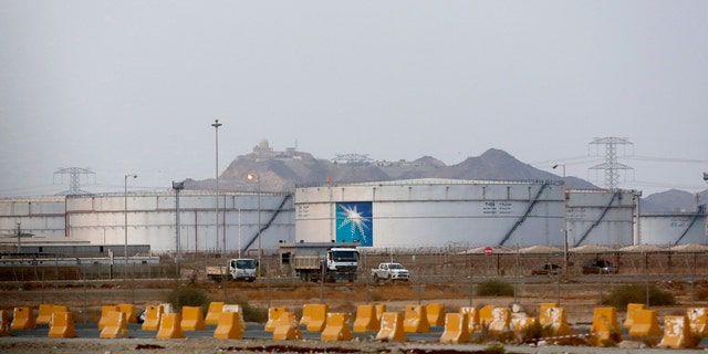 Storage tanks are seen at the North Jeddah bulk plant, an Aramco oil facility, in Jeddah, Saudi Arabia, Sunday, Sept. 15, 2019.