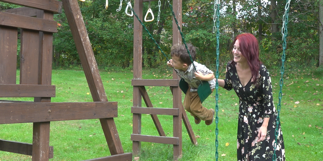 Laura Jones, 39, plays with her son, Jacob Jones, 5, at their Wilkes-Barre home.