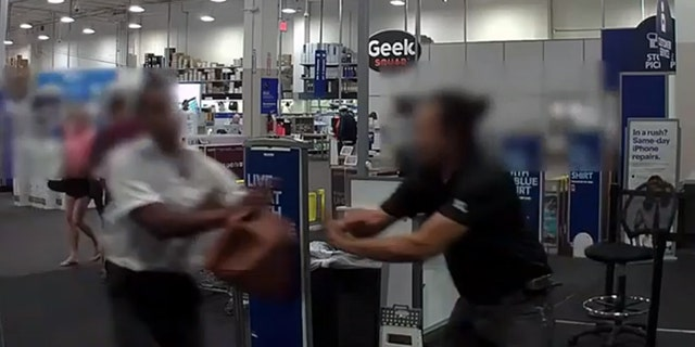 The armed robbery was captured on cameras inside and outside the Best Buy store on W. Pico Blvd. around 7:45 p.m. on Thursday, Sept. 5, according to a Los Angeles Police Department news releaseposted on Monday, which included the surveillance video.