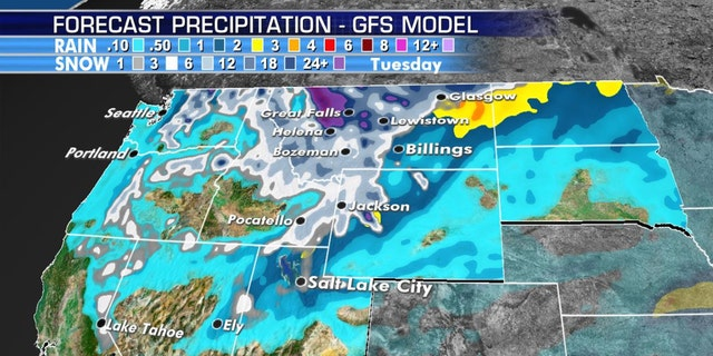 Forecast snow totals through Sunday across the northern Rockies.