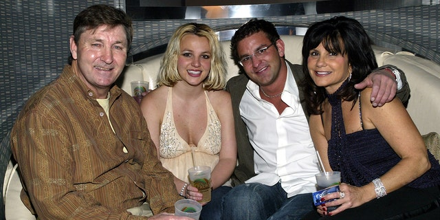 From l-r: Jamie Spears, Britney Spears, her brother Bryan Spears and mother Lynne at the launch party for the Palms Home Poker Host software held in Las Vegas in 2006.