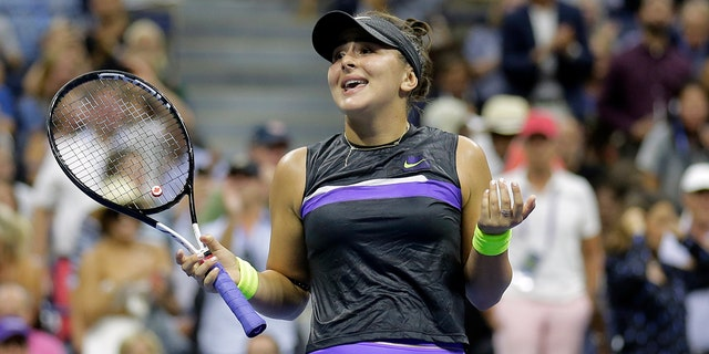 Bianca Andreescu, of Canada, reacts after defeating Elise Mertens, of Belgium, during the quarterfinals of the U.S. Open tennis tournament, Wednesday, Sept. 4, 2019, in New York. (AP Photo/Seth Wenig)