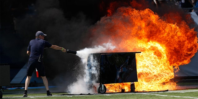 Westlake Legal Group Titans-Colts-fire-2 Fire erupts on field before game between Colts and Titans in Tennessee fox-news/us/us-regions/southeast/tennessee fox-news/us/disasters/fires fox-news/sports/nfl/tennessee-titans fox-news/sports/nfl/indianapolis-colts fox-news/odd-news fox news fnc/sports fnc David Aaro article 02498d96-0765-5280-bc78-a87db01a9770