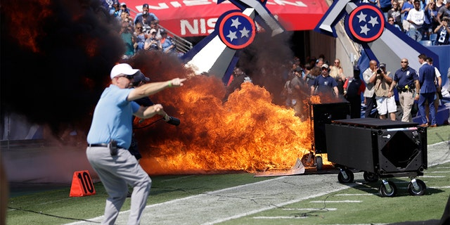 Westlake Legal Group Titans-Colts-fire Fire erupts on field before game between Colts and Titans in Tennessee fox-news/us/us-regions/southeast/tennessee fox-news/us/disasters/fires fox-news/sports/nfl/tennessee-titans fox-news/sports/nfl/indianapolis-colts fox-news/odd-news fox news fnc/sports fnc David Aaro article 02498d96-0765-5280-bc78-a87db01a9770