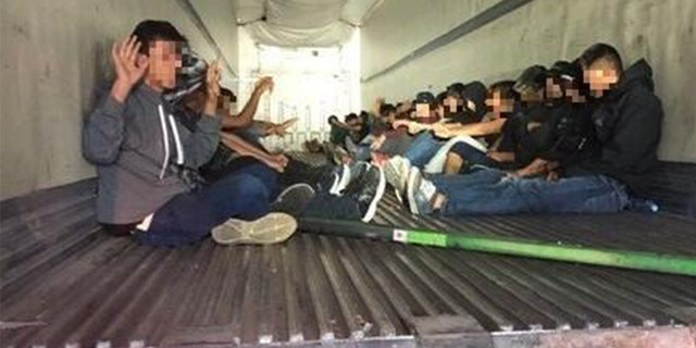 Agents assigned to the I-19 immigration checkpoint discovered 31 Mexican nationals inside the back of the tractor-trailer.