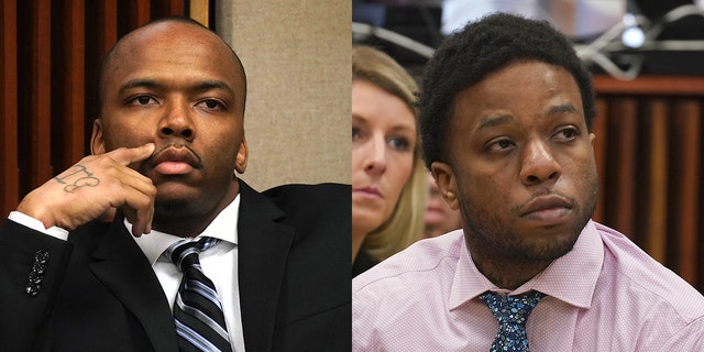 From left to right: Dwright Doty and Corey Morgan appear during opening statements in each of their separate trials for the murder of 9-year-old Tyshawn Lee at the Leighton Criminal Court building in Chicago on Tuesday, Sept. 17, 2019. (E. Jason Wambsgans/Chicago Tribune via AP, Pool)