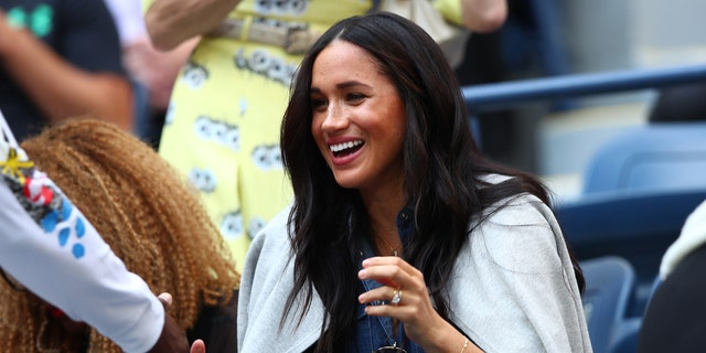 Megan, Duchess of Sussex attends the final singles women's match between Serina Williams of the United States and Bianca Andreescu of Canada on the thirteenth day of the 2019 US Open at the USTA National Tennis Center, Billy Jean King.