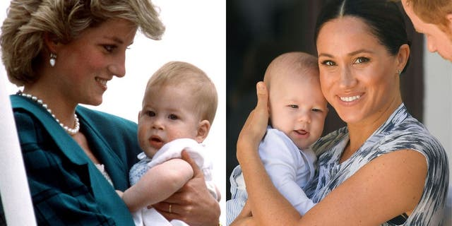 Princess Diana with baby Harry (L) and Meghan Markle with Archie (R) in South Africa.