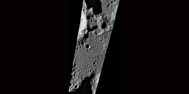A wide view of a series of Lunar Reconnaissance Orbiter Camera's narrow-angle camera images collected on Sept. 17 showing the area of the targeted Vikram landing site.