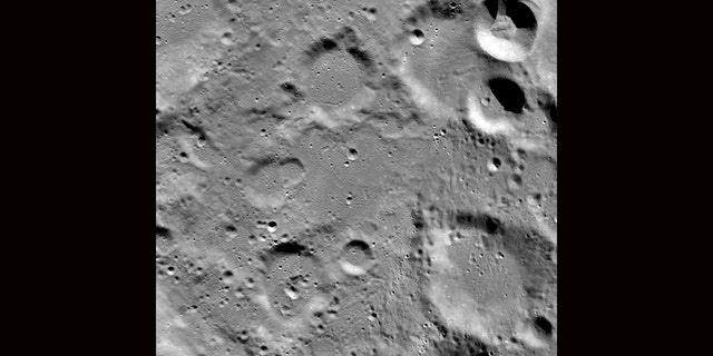 A view looking down on the Vikram landing site (image acquired before the landing attempt), image width 54 miles. (NASA/Goddard/Arizona State University)