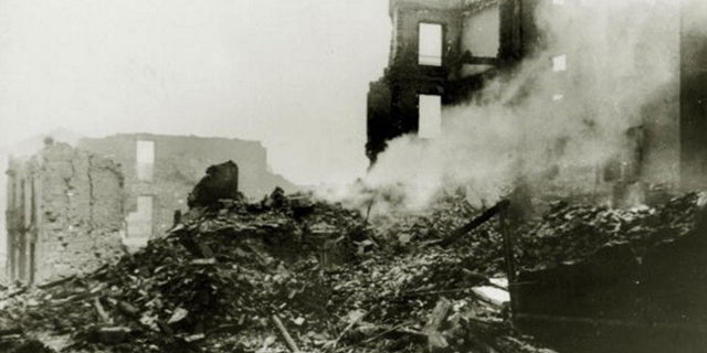 A scene of devastation in Guernica after an aerial bombardment by German and Italian planes which caused great loss of life, With what started as a military uprising in Morocco, headed by General Franco, the fighting spread rapidly to start the Spanish Civil War, Outside support was provided by the International Brigade who helped the Republican cause and by Germany and Italy both allied to the Nationalists, Once Government resistance was exhausted, many of their people fled to France and the Nationalists entered Madrid on 28th March 1939 with General Franco then being able to call an end to the war