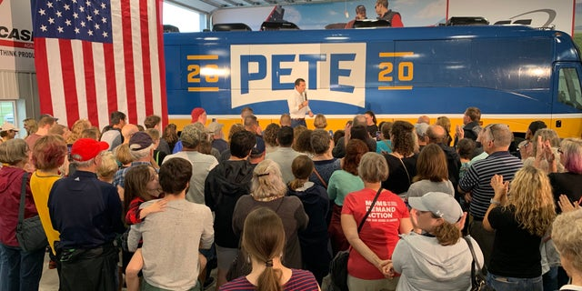 Democratic Presidential Candidate Pete Buttigieg campaigns in Boone, Iowa during his four-day train debate by a Hawkeye State. (Mitti Hicks/Fox News)
