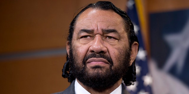 Rep. Al Green, D-Texas, speaks during a news conference in the Capitol Visitor Center. (Photo By Tom Williams/CQ Roll Call)