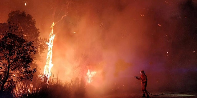 Firefighters battled a bushfire in Peregian Springs on the Sunshine Coast on Sunday. AAP Image/John Park/via Reuters