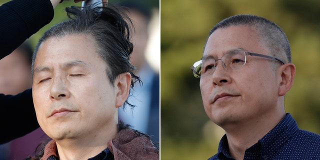 Hwang Kyo-ahn, the main opposition Liberty Korea Party chairman, stands before (left) and after shaved head in Seoul, South Korea, Monday, Sept. 16, 2019.