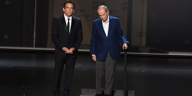 Ben Stiller, left, and Bob Newhart appear on stage at the 71st Primetime Emmy Awards on Sunday, Sept. 22, 2019, at the Microsoft Theater in Los Angeles.