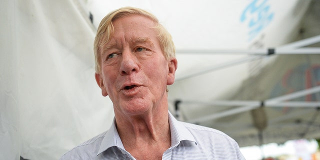 Weld talks with the media at the Iowa State Fair on Aug. 11, 2019. (Photo by Caroline Brehman/CQ Roll Call)