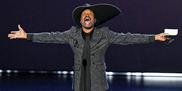 "Billy Porter accepts the outstanding lead actor in a drama series award for ""Pose"" onstage during the 71st Emmy Awards at Microsoft Theater on Sept. 22, 2019 in Los Angeles."