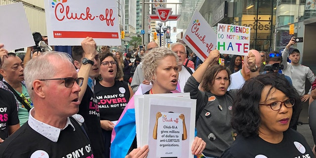 The grand opening of Chick-fil-A's first international location in Toronto, Canada was met with a grand protest on Friday by LGBTQ supporters.